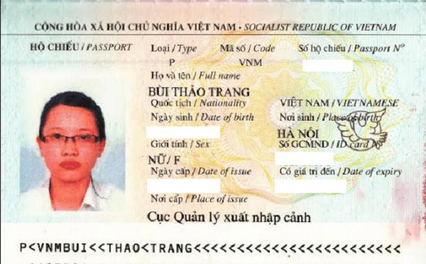 hộ chiếu bùi thảo trang
