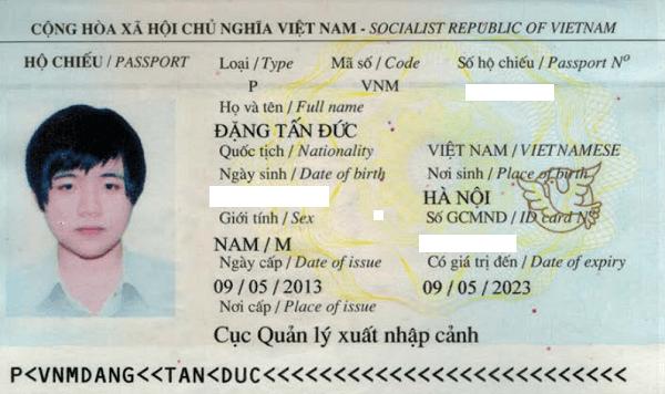 hộ chiếu đặng tấn đức