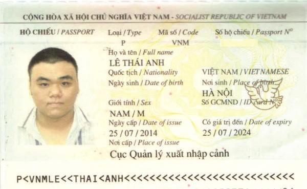 hộ chiếu lê thái anh