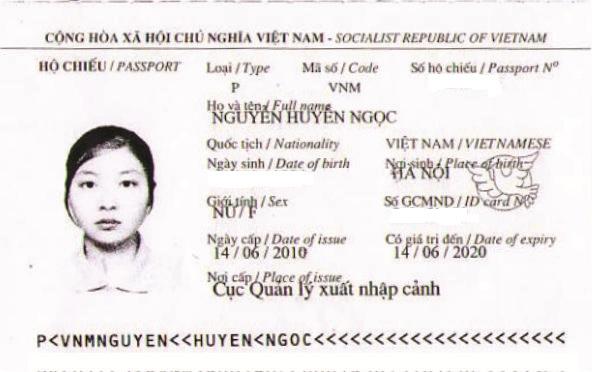 hộ chiếu Nguyễn Ngọc Huyền
