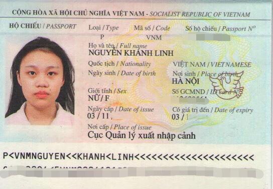 hộ chiếu Nguyễn Khánh Linh