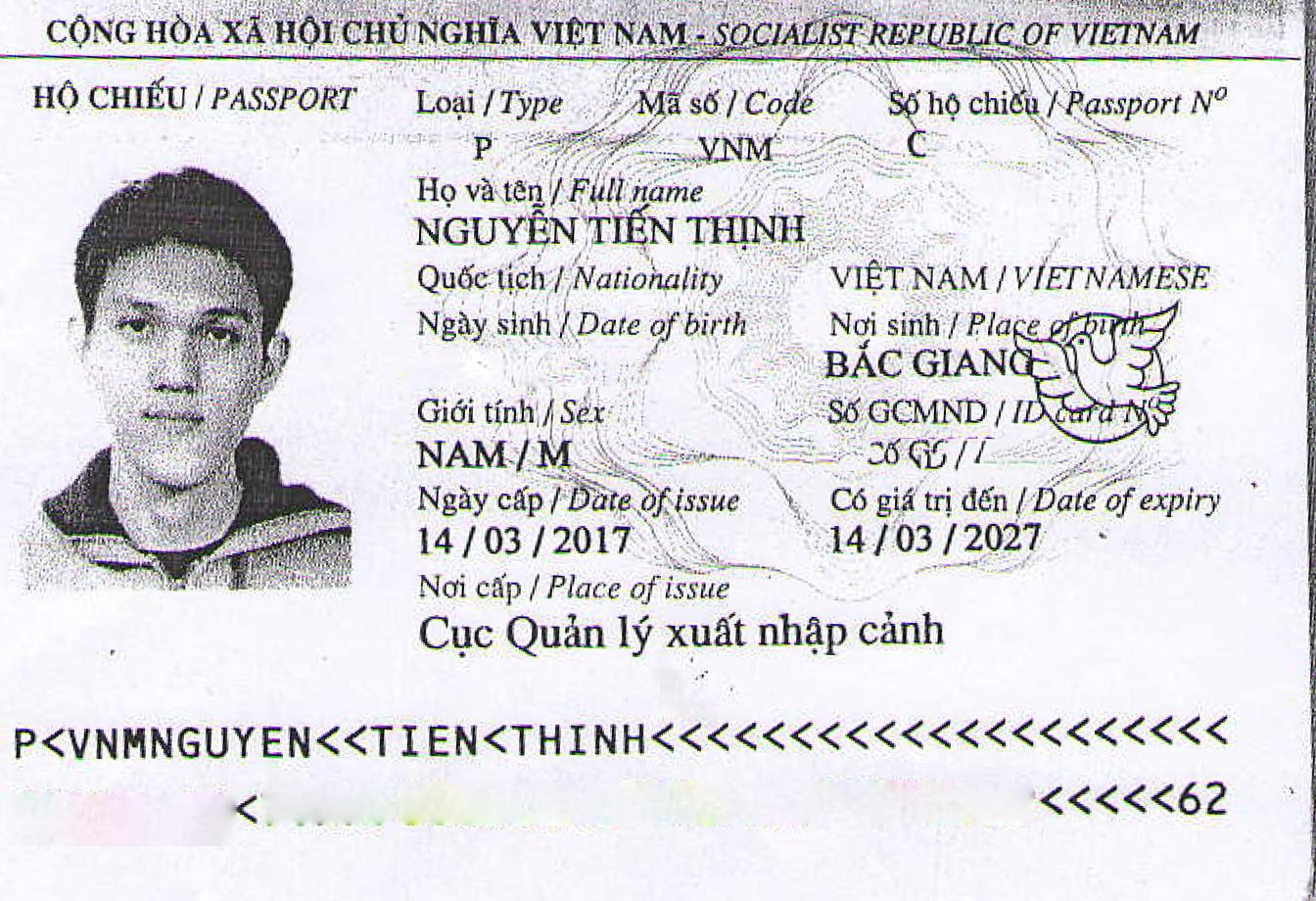 Hộ chiếu bạn Nguyễn Tiến Thịnh