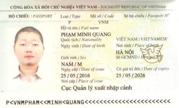 hộ chiếu phạm minh quang
