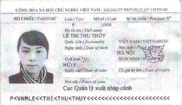 hộ chiếu Lê thị thu thủy