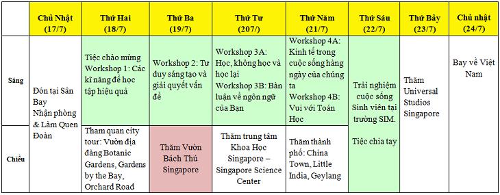 lịch du học hè singapore 2016