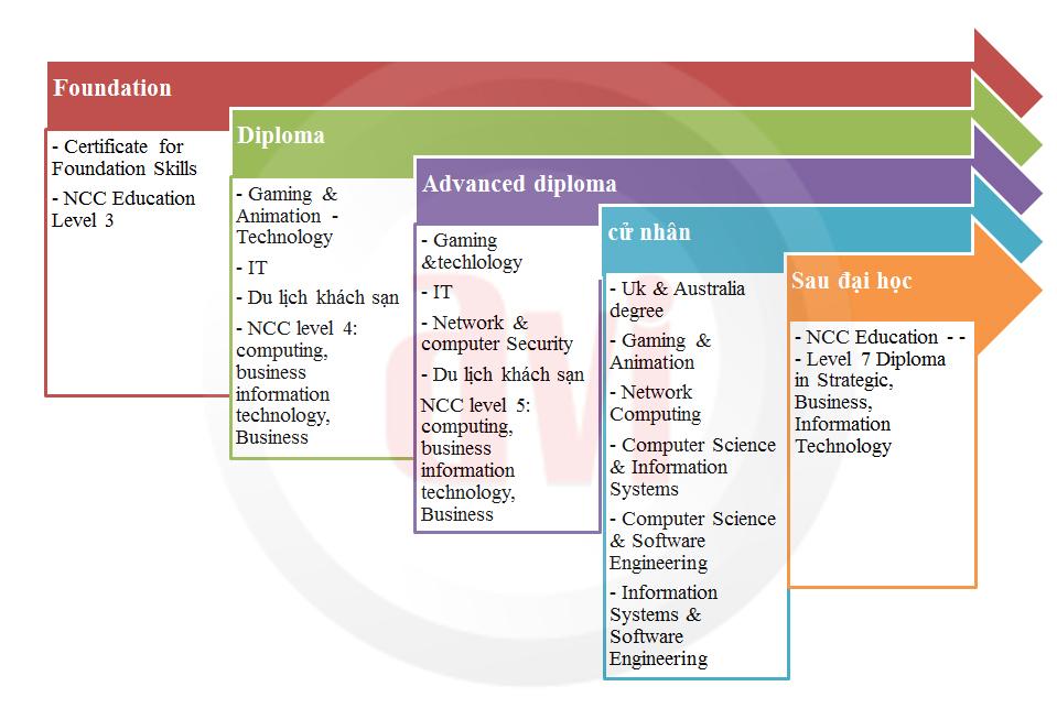 Sơ đồ lộ trình học tập cho sinh viên, du học sinh học viện Informatics
