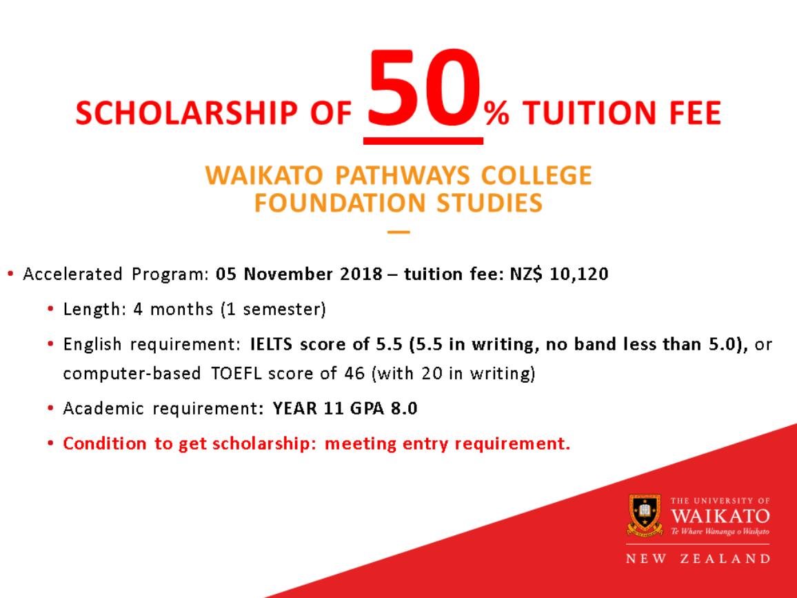 Học bổng Đại học Waikato